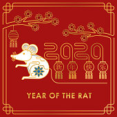 2020 Chinese New Year decorative elements. Happy Chinese New Year 2020, new year, Chinese new year 2020 year of the rat, Chinese new year greetings, Year of the Rat, lunar new year, 2020 Beginning concept, 2020 Creative Design Concept. Years of rats vector design illustration.