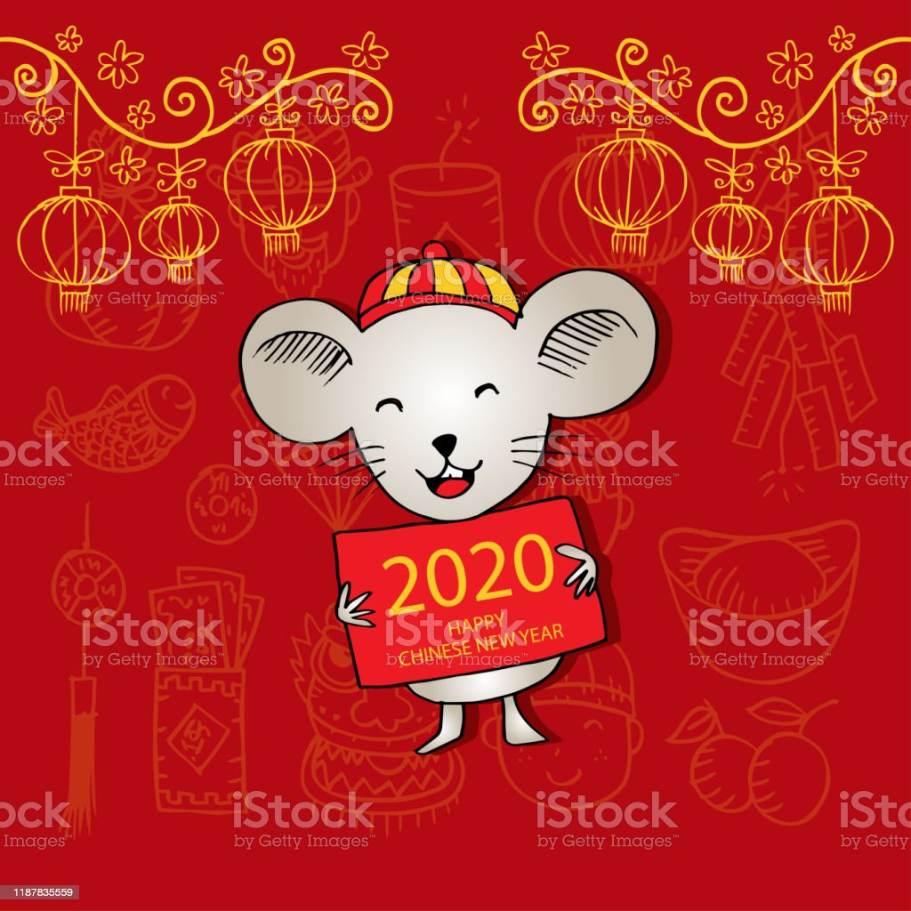 happy chinese new year 2020 greeting card stock