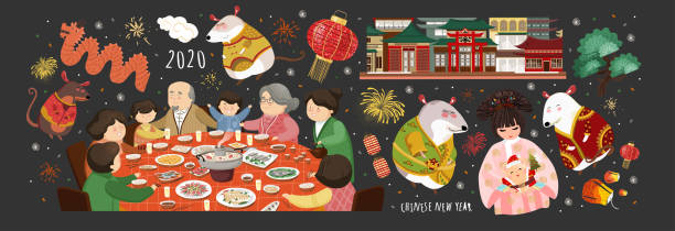 Happy chinese new year! 2020 is the year of the rat. Vector cute illustration of asian mice, korean people,family at the table, house for the holiday. Isolated objects for card, background or poster. Happy chinese new year! 2020 is the year of the rat. Vector cute illustration of asian mice, korean people,family at the table, house for the holiday. Isolated objects for card, background or poster. cartable stock illustrations