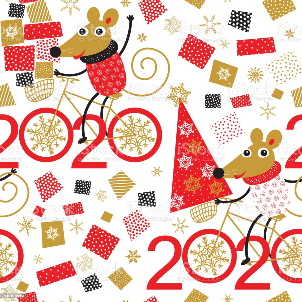 Happy Chinese New Year 2020 Seamless Pattern Golden Snowflakes And Cute Mouse And Rat Rides A Bicycle With Christmas Tree In Hand And Lot Of Gifts Christmas Wallpaper Wrapping Paper Greeting Card