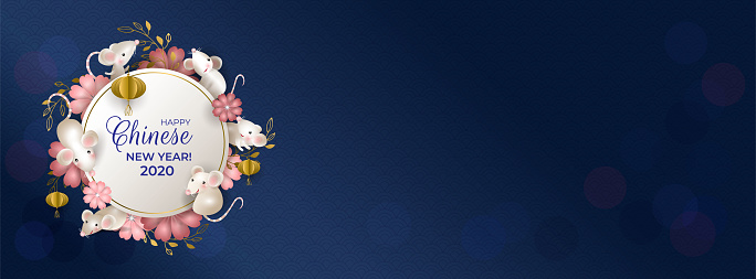 Happy Chinese New Year 2020. Six rats on white round signboard. White mouses, golden lanterns, pink flowers on blue background. For cover social network, greeting cards, banner. Vector illustration.