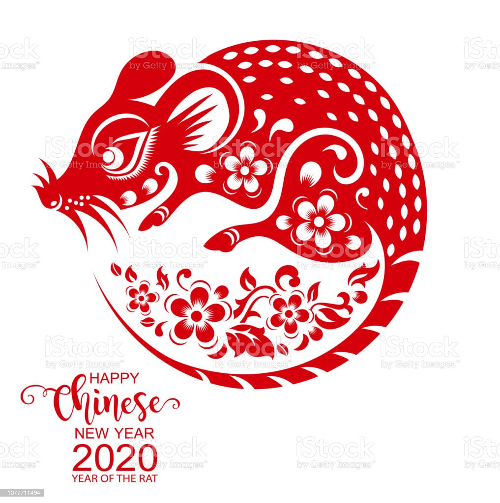 New Zodiac Signs 2020 Happy Chinese New Year 2020 Zodiac Sign With Gold Rat Paper Cut