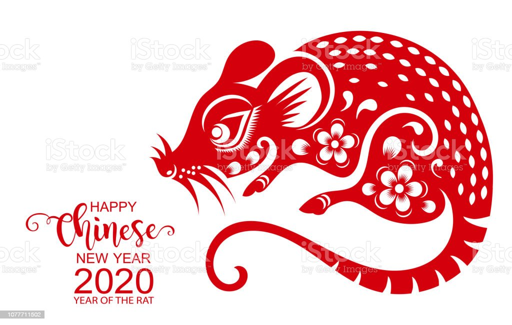Happy Chinese New Year 2020 Zodiac Sign With Gold Rat ...