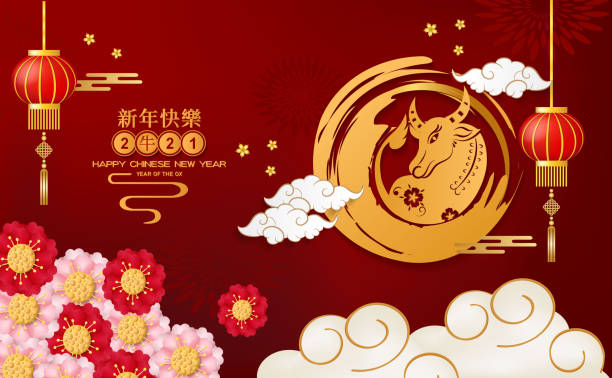 Happy Chinese New Year 2021 year of the ox on red paper cut ox character and Asian elements with craft style on background. Chinese translation is mean Year of OX Happy Chinese new year. Happy Chinese New Year 2021 year of the ox on red paper cut ox character and Asian elements with craft style on background. Chinese translation is mean Year of OX Happy Chinese new year. chinese currency stock illustrations