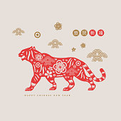 Vector Happy Chinese New Year 2022 year of the Tiger paper cut style. Chinese Zodiac characters for greetings card, flyers, invitation, posters, brochure, banners, calendar etc.