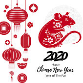 2020 Happy Chinese new year background with Rat. Good for calendar, invitation, greeting card design. Vector illustration.