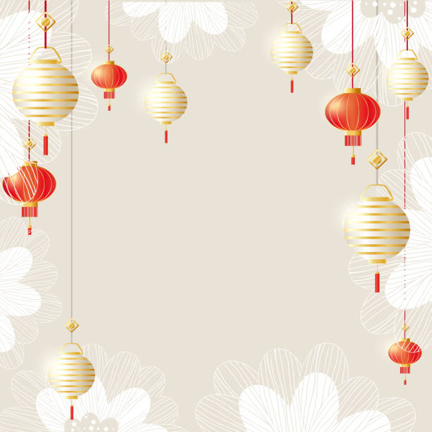 Happy Chinese new year background with red and white lanterns - illustrazione arte vettoriale