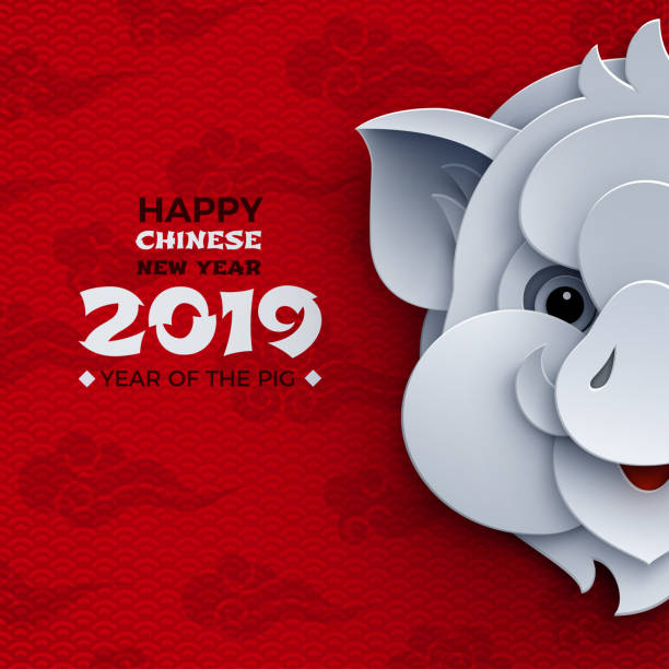 happy chinese new year banner, paper head of the pig, animal symbol of 2019. pattern red clouds, oriental background for poster, greeting card, flyer design. paper cut out style, vector - year of the pig stock illustrations, clip art, cartoons, & icons
