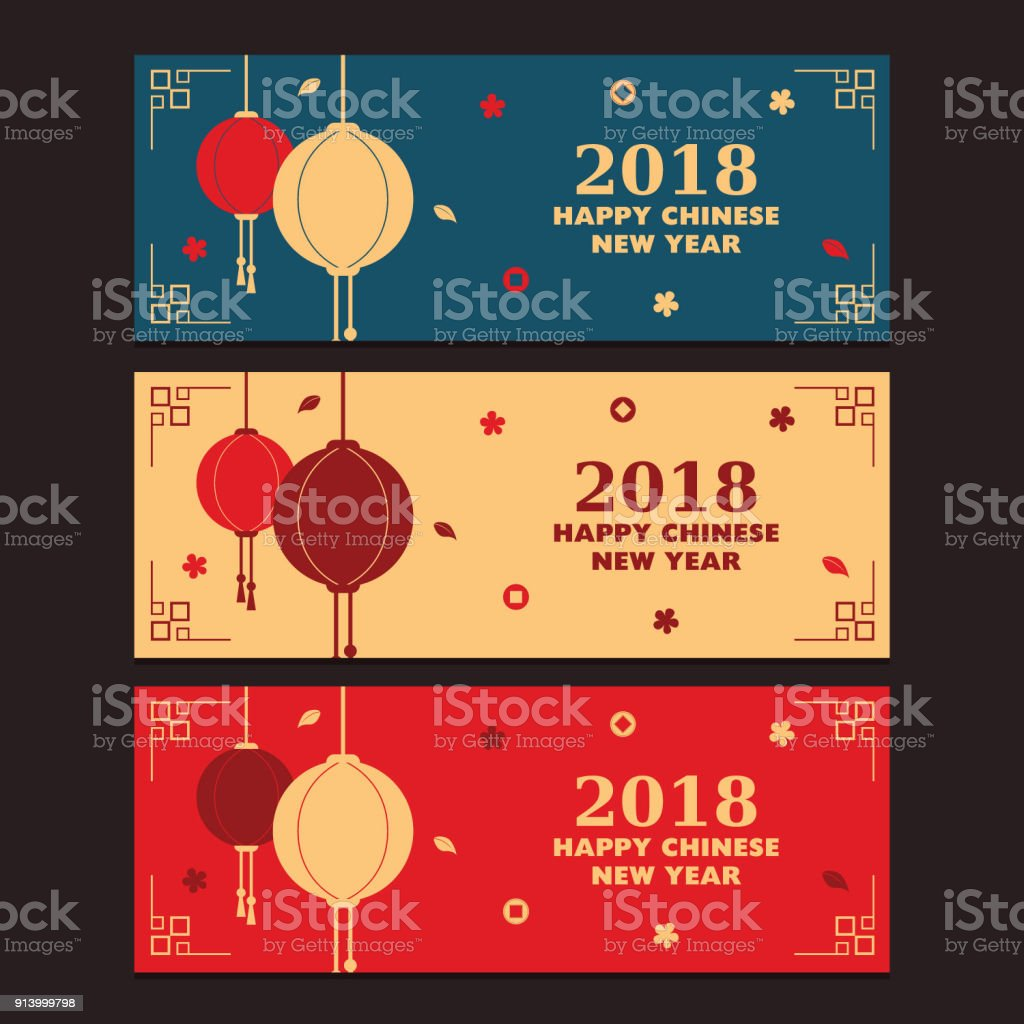 happy chinese new year banner with three different theme royalty free happy chinese new year