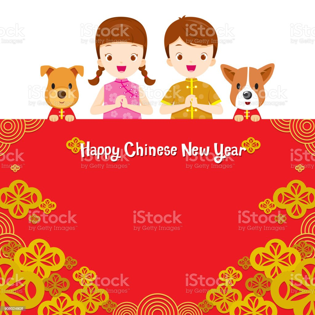 happy chinese new year border with children royalty free stock vector art
