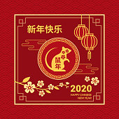 Happy Chinese New Year card and social media post with rat, blossom flowers and red lanterns