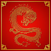 Illustration of Happy Chinese new year card with gold dragon