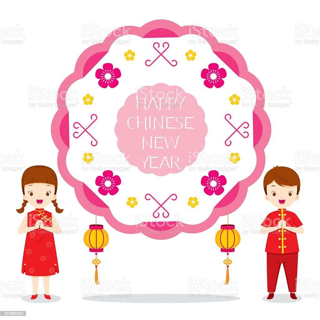 happy chinese new year circle frame with children royalty free happy chinese new year circle