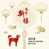 Celebrate the Chinese New Year in the year of the Dog 2018 with decoration of lanterns, lucky pendant, cloud, and dog in the background, the Chinese calligraphy means best wishes for the year to come!