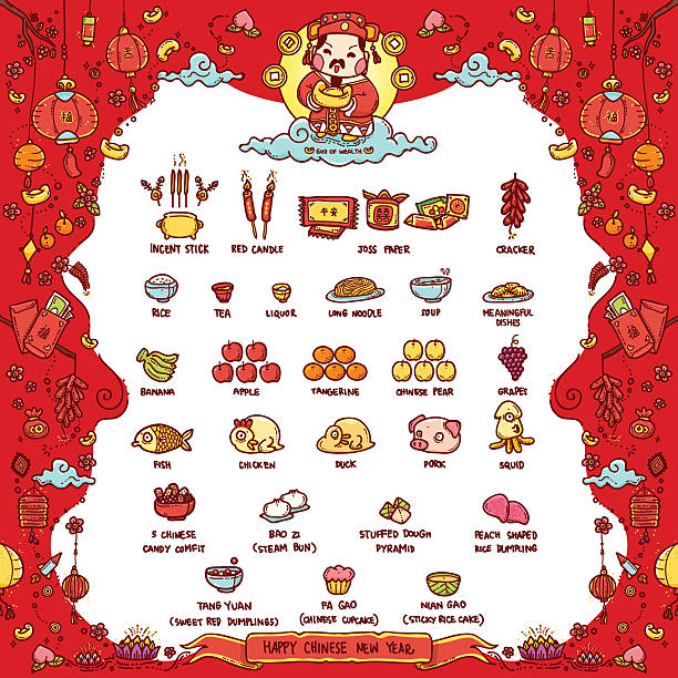 happy chinese new year, god of wealth - chinese new year stock illustrations