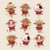 istock Happy Chinese new year greeting card. 2021 Ox zodiac. Cute cow in red costume and gold money. Animal holidays cartoon character. 1263897891