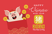 Happy Chinese new year greeting card with cute pig with gold money. Animal cartoon character. Calligraphy hand written. Translate: Pig.