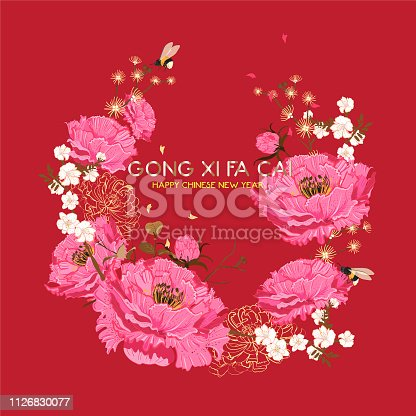 Happy Chinese New Year Greeting vector design. Chinese year ,Oriental bloom peony Sakura Blossom. Circle garden brunch. with text gold Gong xi fa cai means Happy chinese newyear