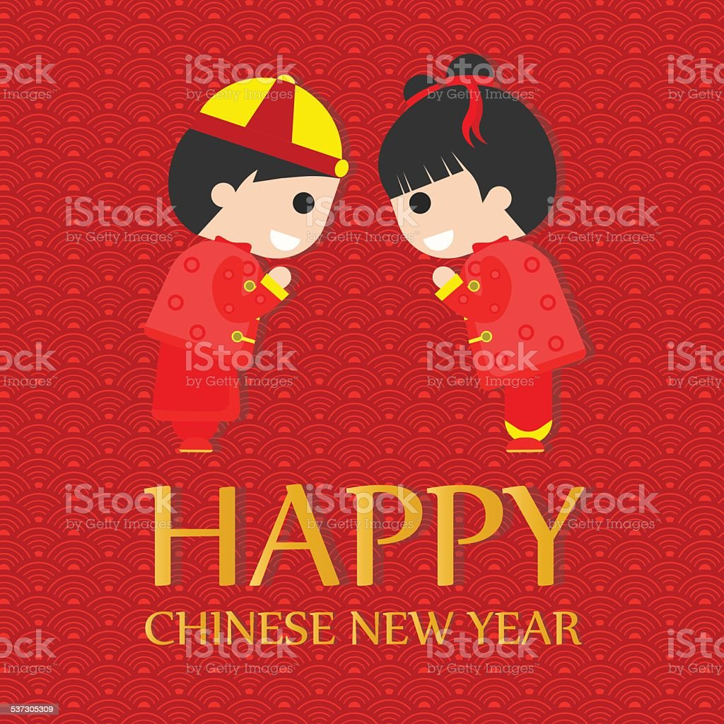 Happy Chinese New Year Grüße Cadr Glückliche Kinder Stock Vektor Art ...