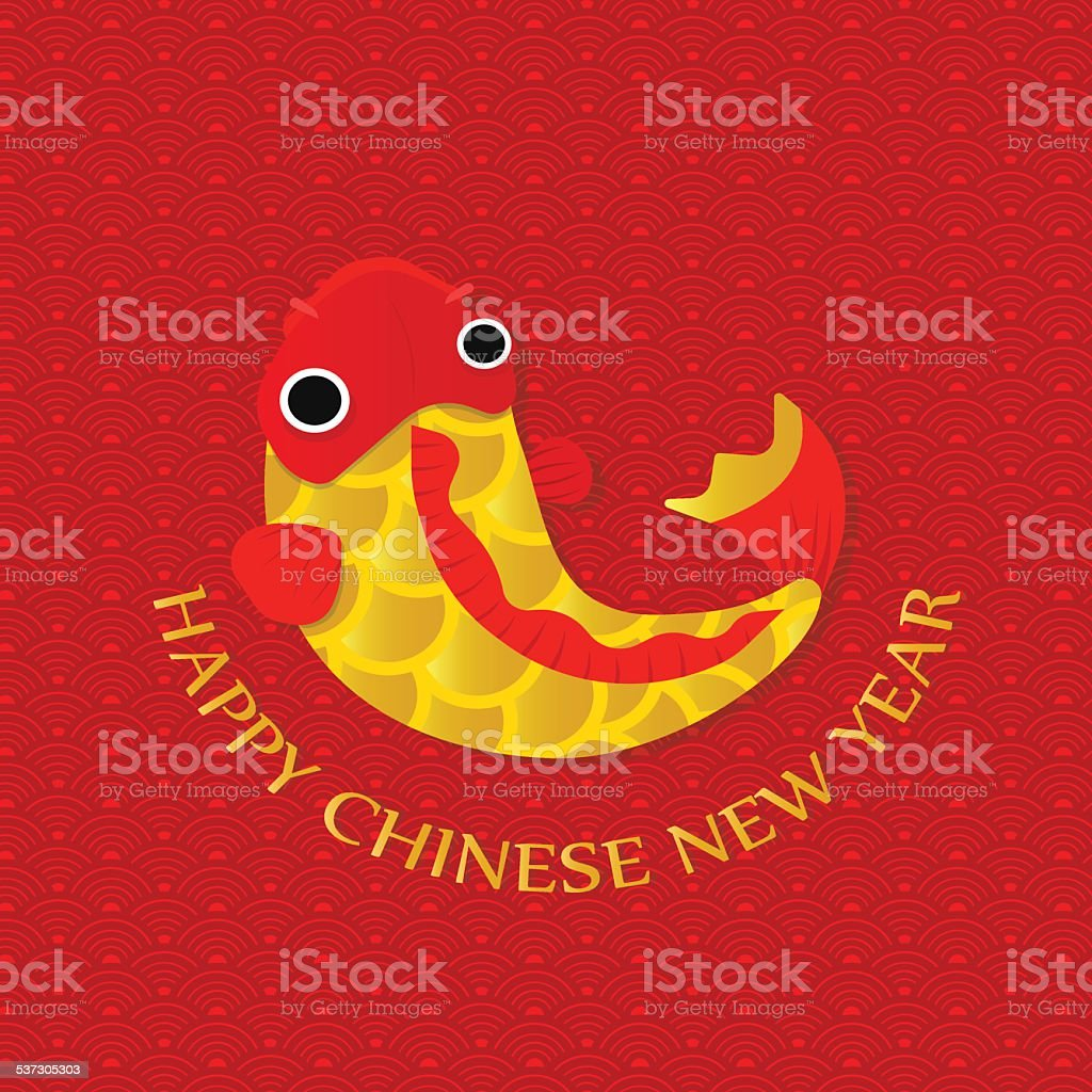 Happy Chinese New Year Greetings Cardgold Fish Stock Vector Art
