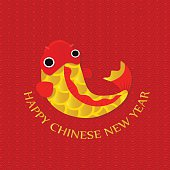 Happy Chinese New Year Greetings card,Gold fish,Greetings card,Vector illustration