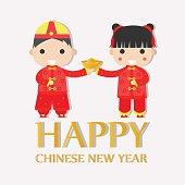Happy Chinese New Year Greetings ,Happy children