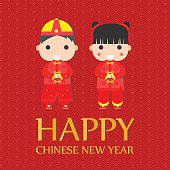 Happy Chinese New Year Greetings,Happy children