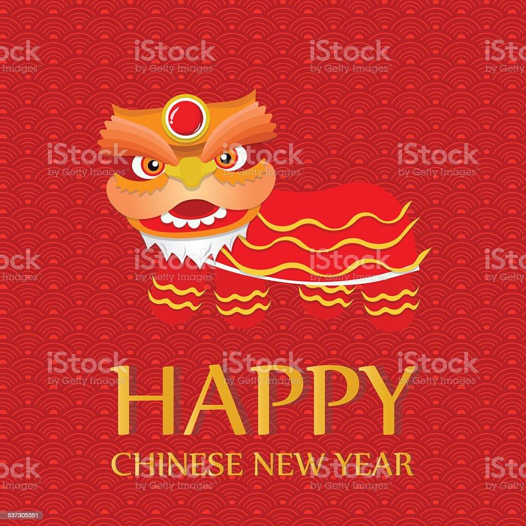 Happy Chinese New Year Grüße Löwentanz Stock Vektor Art und mehr ...