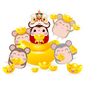 Happy Chinese new year, group of Little rat holding Chinese gold, Happy new year 2020 year of the rat zodiac isolated on white Background