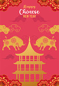 istock happy chinese new year lettering card with golden oxen and castle silhouettes 1291319425