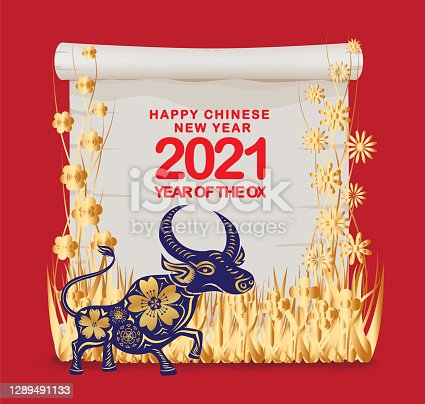 istock Happy Chinese New Year of the ox 2021 zodiac sign. Luxury gold floral and map scroll on red background for greetings card, invitation, posters, brochure, calendar, flyers, banners 1289491133