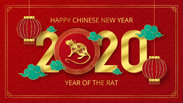 happy chinese new year paper cut style - chinese new year stock illustrations
