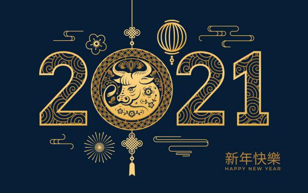cny 2021 해피 차이니즈 새해 텍스트 번역, 황금 금속 소, 등불과 구름, 파란색 배경에 꽃 꽂기. 벡터 음력 축제 장식, 중국 봄 휴가 마스코트 - chinese new year stock illustrations