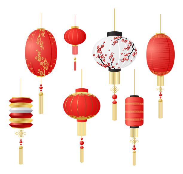 bildbanksillustrationer, clip art samt tecknat material och ikoner med happy kinesiska nyåret. traditionella kinesiska lyktor och kinesiska lampor - rislampa
