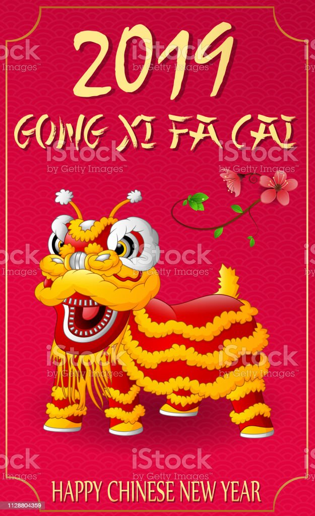 illustration of Happy Chinese New Year with Lion dance