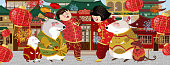 Happy chinese new year! Year of the rat. Asian people in national costumes and mice celebrate the holiday. Vector illustration for banner man and woman, lanterns, mouse and city.
