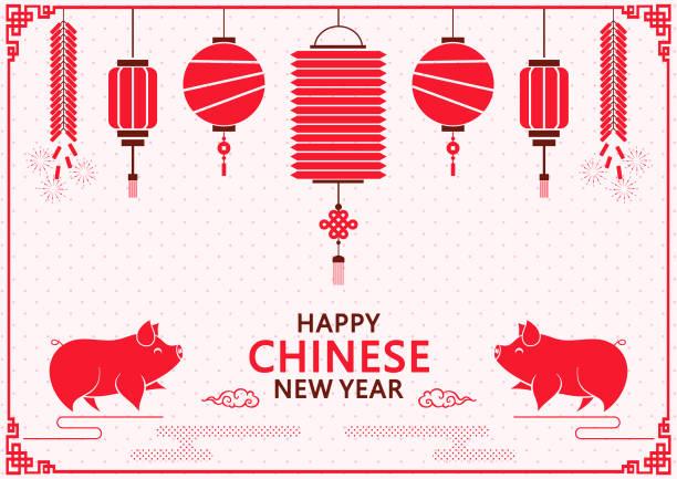 bildbanksillustrationer, clip art samt tecknat material och ikoner med happy kinesiska grisens år. kinesiska traditionell festival nya year.happy kinesiska nyåret med lykta bakgrund - rislampa