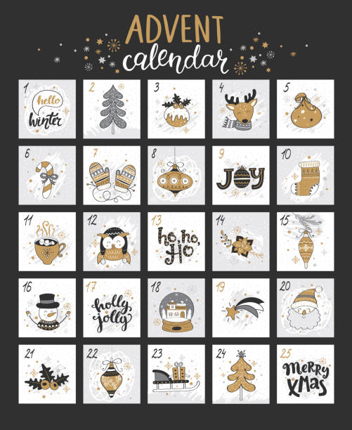 happy christmas advent calendar with symbols. - advent stock illustrations