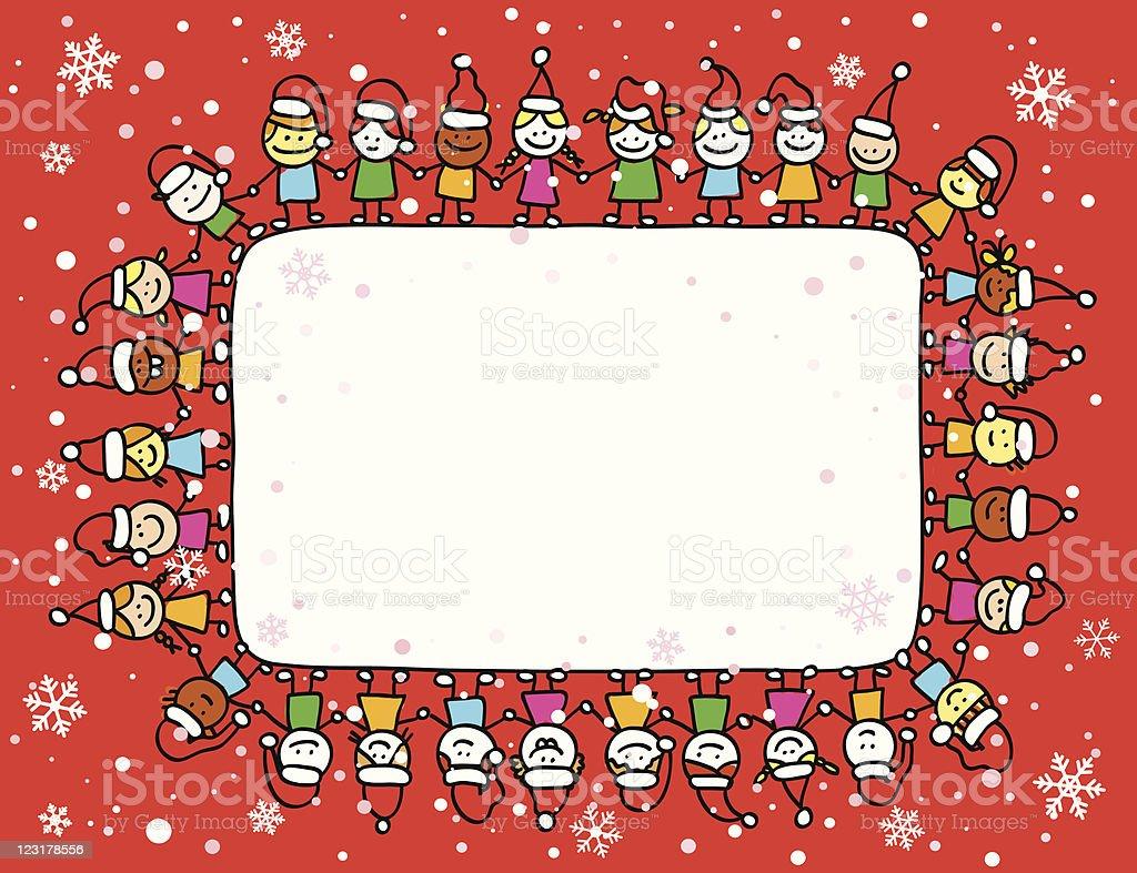 Buon Natale Bambini.Buon Natale Bambini Tenendo Le Mani Con Copyspace Banner