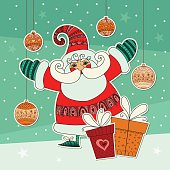 Happy Christmas Santa Claus. Holiday illustration for winter event. Vector design.