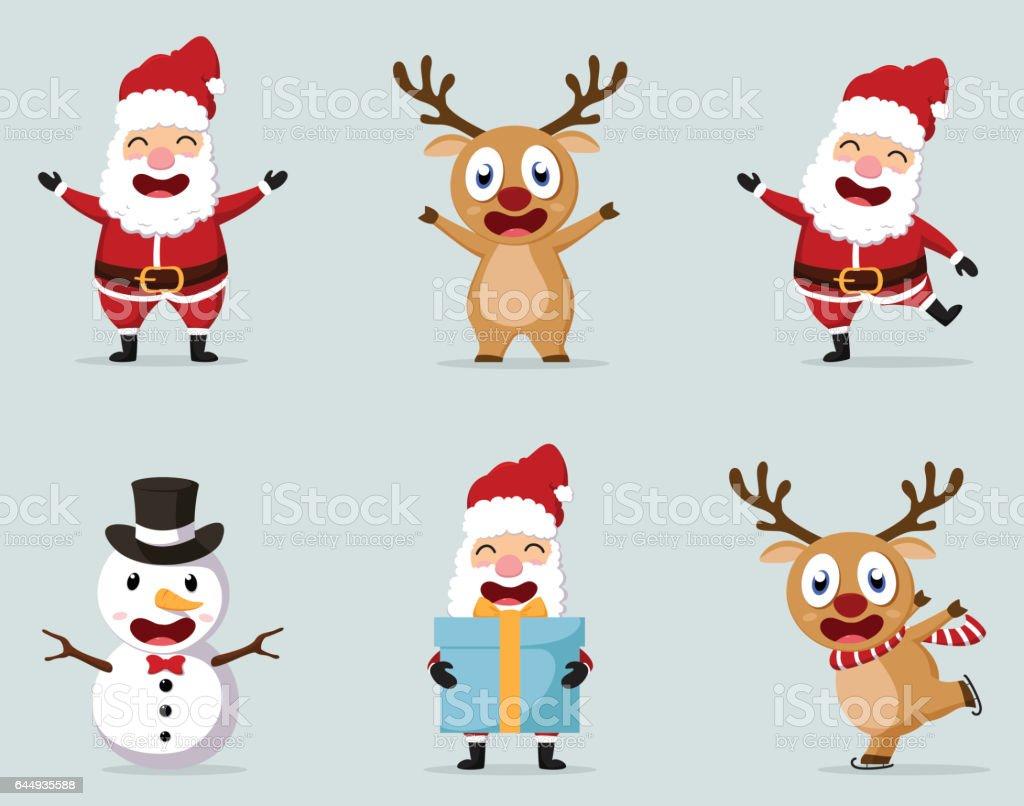 Reno De La Navidad, Muñeco De Nieve Y Santa Claus