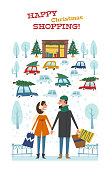 istock Happy Christmas shopping. Vector card with the married couple with bags in hands in Christmas city. Winter illustration on the background of the shop with Gifts, Christmas trees and cars. 876590640