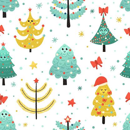 Happy Christmas Trees Seamless Pattern Funny Winter Background — стоковая векторная графика и другие изображения на тему Без людей