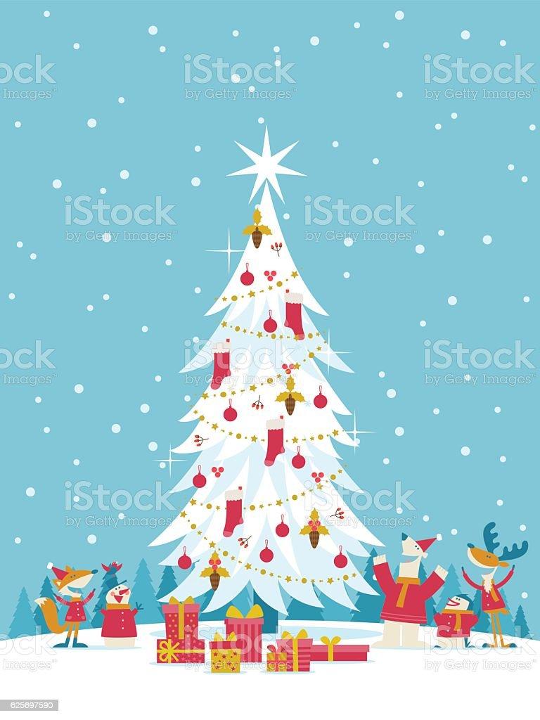 Happy Christmas vector art illustration