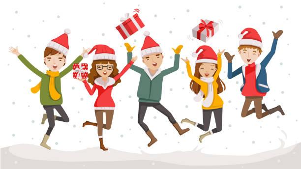 illustrazioni stock, clip art, cartoni animati e icone di tendenza di happy christmas - couple portrait caucasian