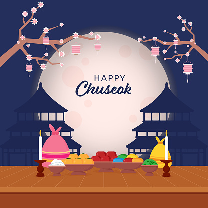 Happy Chuseok Celebration Concept with Heaven Temples, Delicious Foods, Sacks, Candle Stand and Sakura Flower Branch on Full Moon Blue Background.