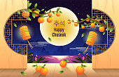 Happy Chuseok, Mid autumn festival. rabbits , Moon Festival, Thanksgiving in Korea, vector illustration.