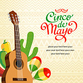 Mexican music elements with calligraphy cinco de mayo symbol.
