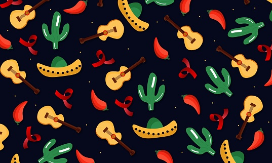 Happy Cinco de Mayo party illustration. Traditional mexican celebration web banner of mariachi guitar and hat on vintage background