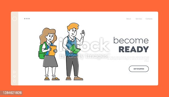istock Happy Classmates Girl and Boy Landing Page Template. Kids Pupils Characters in Uniform with Backpack and Textbooks 1284621826